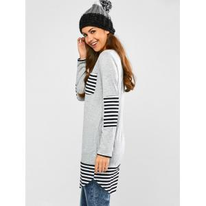 Striped Hem Pocket Tunic T-Shirt - LIGHT GRAY XL