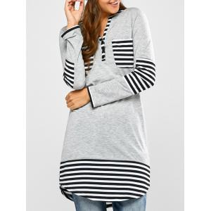 Striped Hem Pocket Tunic T-Shirt - Light Gray - M