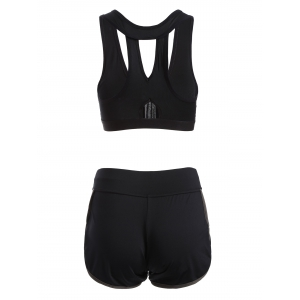 Zipper Design Patchwork Sporty Bra and Gym Shorts -