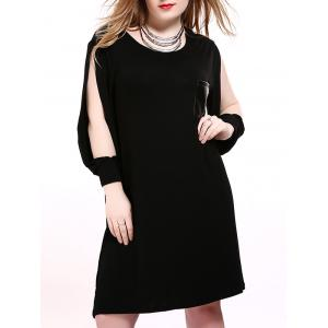 Split Sleeves Leather Patch Shift Dress - Black - 6xl