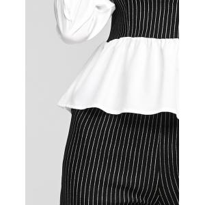 Patchwork Blouse and Striped Pants Twinset -