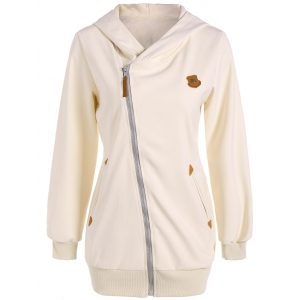 Leather Patch Zip Up Hoodie - Off-white - M