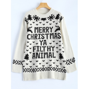 Jewel Neck Merry Christmas Sweater - Off-white - One Size