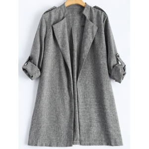 Rolled Cuff Sleeve Plus Size Coat - Gray - 4xl