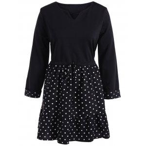 Polka Dot Splicing Plus Size Dress