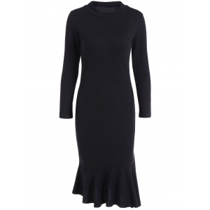 Long Sleeve Fitted Mermaid Midi Sweater Dress - Black - L