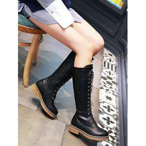 Vintage PU Leather Lace Up Mid Calf Boots -