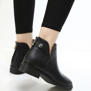 Back Zip PU Leather Ankle Boots -