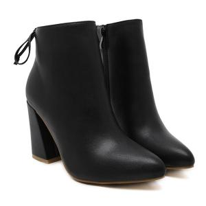 Conicse Pointed Toe Chunky Heel Boots -