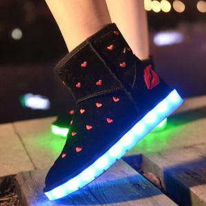 Lip Heart Embroidered Led Luminous Snow Boots - BLACK 37