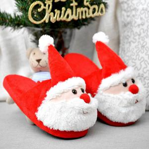 Cartoon Flocking Christmas Slippers - RED SIZE(37-38)