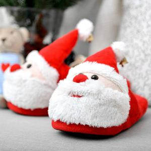 Cartoon Flocking Christmas Slippers - RED SIZE(40-41)