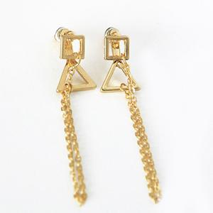 Vintage Triangle Tassel Chain Earrings