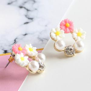 Faux Pearl Rhinestone Flower Earrings -