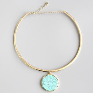 Bohemian Artificial Turquoise Round Necklace -
