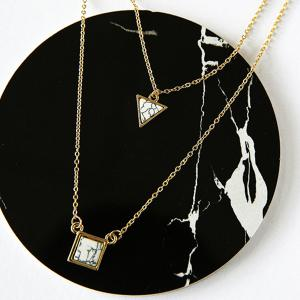 Vintage Faux Gem Geometric Layered Necklace - GOLDEN