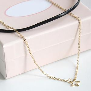 PU Leather Star Layered Choker Necklace -