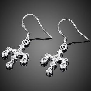 Crucifix Water Drop Jewelry Set - SILVER