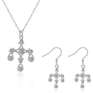 Crucifix Water Drop Jewelry Set - Silver - Size S