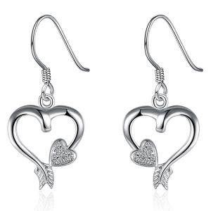 Rhinestone Heart Jewelry Set - SILVER