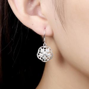 Rhinestone Flower Jewelry Set - SILVER