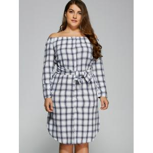 Plus Size Off The Shoulder Plaid Belted Dress - CHECKED 2XL