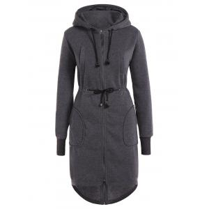 Drawstring Hooded Coat with Pockets - Gray - L
