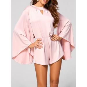 Cut Out Flare Sleeve Fitting Romper - Pink - S