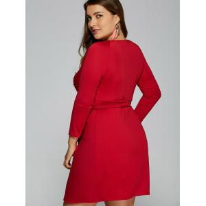 Plunging Neck Long Sleeve Wrap Plus Size Dress - RED 6XL