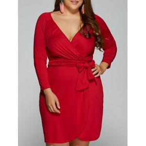 Plunging Neck Long Sleeve Wrap Plus Size Dress