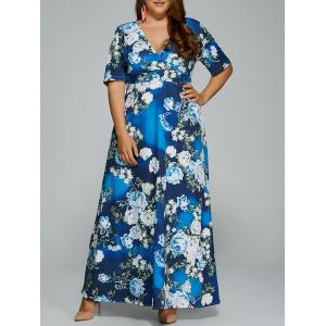 Floral Print Maxi Plus Size Hawaiian Maxi Dress