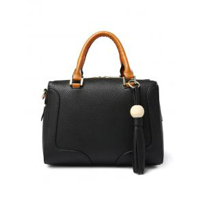 PU Leather Wood Ball Tassel Handbag -
