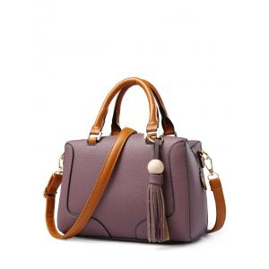 PU Leather Wood Ball Tassel Handbag
