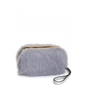 Furry Metal Trimmed Zip Around Evening Bag