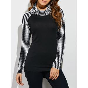 Cowl Neck Pinstriped T-Shirt