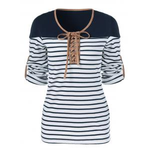 Lace-Up Striped T-Shirt -