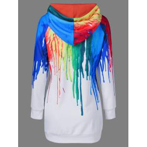 Oil Paint Over Print Rainbow Hoodie - WHITE M