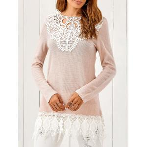 Lace Patchwork Pullover