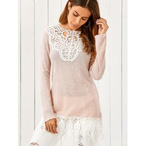Lace Patchwork Pullover - PINKBEIGE XL
