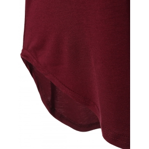 V Neck Batwing Sleeve T-Shirt - WINE RED XL