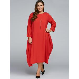 Plus Size Long Sleeve Midi Dress -