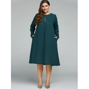 Plus Size Long Sleeve Embroidered Dress -