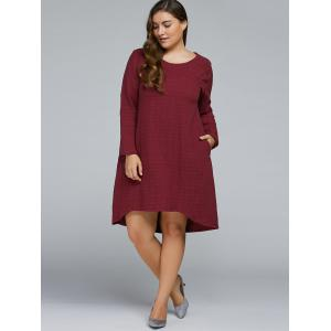 Plus Size Textured Long Sleeve High Low Dress - Wine Red - One Size