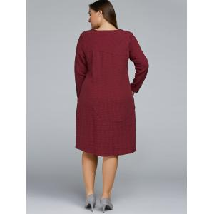 Plus Size High Textured Low Dress - WINE RED ONE SIZE