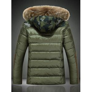 Detachable Furry Hood Camouflage Zip-Up Down Jacket - ARMY GREEN M