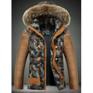 Detachable Furry Hood Camouflage Zip-Up Down Jacket - Coffee - M