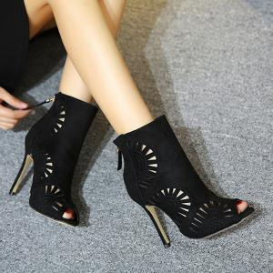 Stiletto Heel Hollow Out Peep Toe Boots -