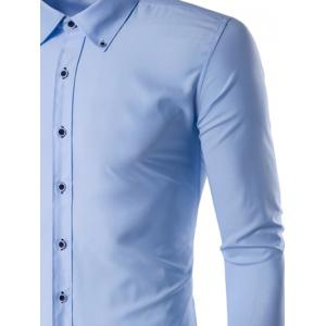 Slim Fit Button Down Collar Long Sleeve Shirt -