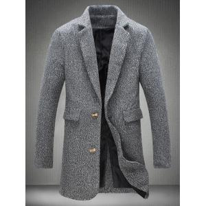 Lapel Collar Flap Pocket Tweed Heather Coat