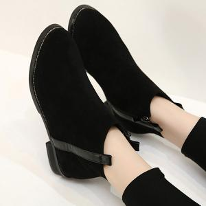 Suede Flat Ankle Boots - BLACK 39